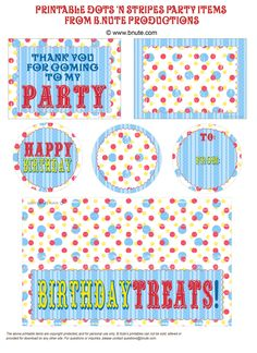 Free Printable Dots 'n Stripes Party Goods- tags, treat bag labels and more...