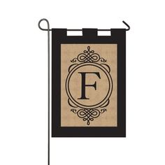 Burlap Monogram F Garden Flag with Metal Stand >>> Click on the image for additional details.