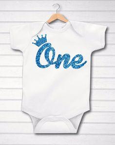 Blue Glitter First 1st Birthday ONE Crown  Boys Birthday Baby Grow Vest Free P&P