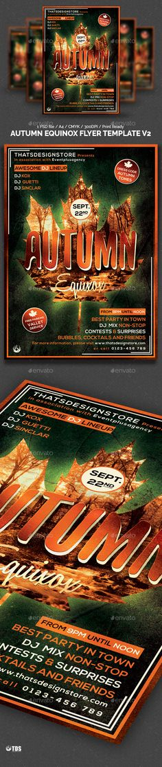 Autumn Equinox Flyer Template V2 — Photoshop PSD #flyer #autumn • Available here → https://graphicriver.net/item/autumn-equinox-flyer-template-v2/12805061?ref=pxcr
