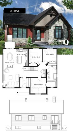 1072 saves Rustic home design bungalow with 3 to 5 bedrooms, open floor plan co. - 1072 saves Rustic home design bungalow with 3 to 5 bedrooms, open floor plan concept, fireplace - Sims House Plans, Best House Plans, Small House Plans, Bungalow Floor Plans, Craftsman House Plans, House Floor Plans, Craftsman Cottage, Br House, House Art