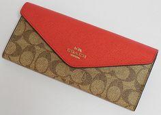 コーチ 財布 レディース 53750LIEYT カラーブロック シグネチャー コーテッド キャンバス 赤×ピンク