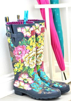 Floral wellies & brollies, via Flickr.