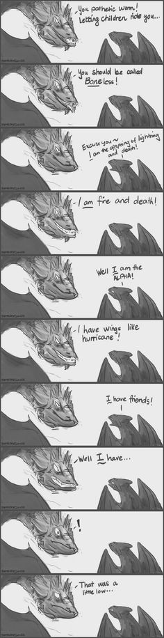 Oh my, go toothless! >>> Look at Toothless's face in the last panel omg he's so fucking over Smaug's shit