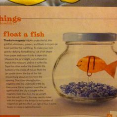 Float a Fish - as seen in Family Fun Magazine, March 2009.  Using a jam jar or baby food jar & magnets under the lid.