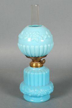 Antique Miniature Oil Lamp - Blue Opaline Glass - S1-408
