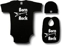 3pc Born To Rock Baby Gift Set