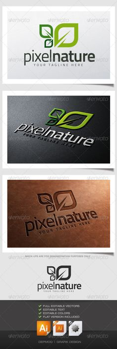 Pixel Nature Logo — Vector EPS #leaf #green • Available here → https://graphicriver.net/item/pixel-nature-logo/4632477?ref=pxcr
