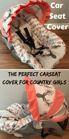 Car Seat Covers for baby girl, Fawns and Tulips. #carseat #covers #babygirl #affiliate