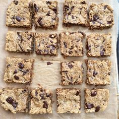 Peanut Butter Oatmeal Chocolate Chip Cookie Bars --- V, GF