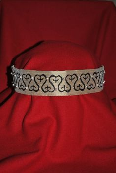 Silk headdress with hand stamps and pearls