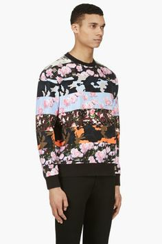 GIVENCHY Pink & Black Camo Flower mixed PRINT Sweater