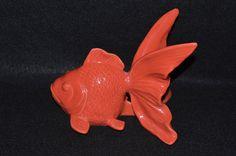 Porcelain Fancy Goldfish, Orange Goldfish Ceramic Statuette, Fancy Goldfish Pottery, Goldfish Figurine, Goldfish Yard Decor, Aquarium Decor by FabulousVintageStore on Etsy