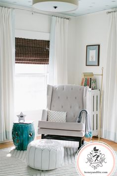 Love the rocking chair....Project Nursery - Honey & Fitz Reed's Starry Nursery