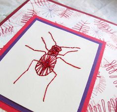 Pink Beetle or Dragonfly Hand Embroidered Card by SandrasCardShop, $7.75
