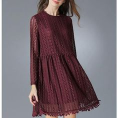 Womens Long Sleeve Lace Dress