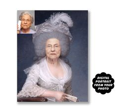 Older Woman Birthday Gift, Custom Portrait from Photo, Historical Personalized Portrait, Womens Birthday Present, Digital Gag Gift for Woman Gag Gifts For Women, Birthday Gifts For Women, Birthday Presents, Movie Night Party, Candyland, Pinterest Advertising, Portraits From Photos, Color Harmony, Birthday Woman