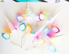 Unicorn Headbands | Unicorn Birthday Party Decorations + Party Favors | by Jessica Wilcox of Modern Moments Designs | www.modernmomentsdesigns.com