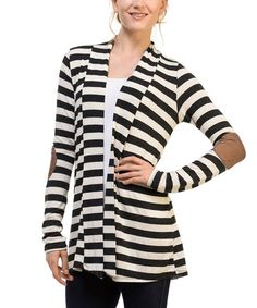 Look what I found on #zulily! Oatmeal & Charcoal Stripe Elbow-Patch Open Cardigan #zulilyfinds