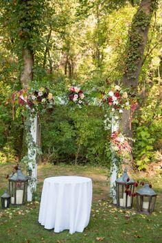 Burgundy + Ivory Organic Altar | Photography: Redeemed Productions | Venue: Spain Ranch | Florist: Robyn's Flower Garden | Rentals: Party Pro Rents | #weddings #bridesofok #altars