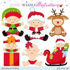 Christmas Babies Cute Digital Clipart por JWIllustrations en Etsy