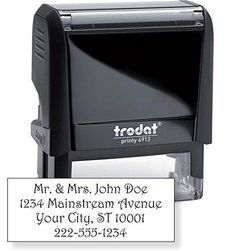 """Trodat 4913 Large Text Stamp 7/8"""" x 2-3/8"""" - Customize Online up to five lines of type - Many font and color choices"""