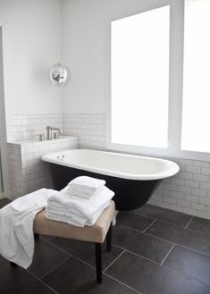 Simple black and white bathroom.