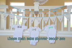 Little Man Baby Shower Set 3 bow tie onsies by LovelyLittleBabies, $60.00