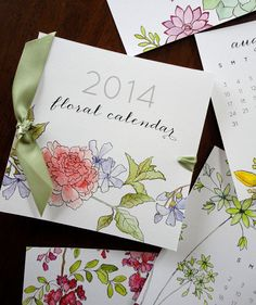 SALE++2014+Watercolor+Floral+Calendar+by+NooneyArt+on+Etsy,+$15.00