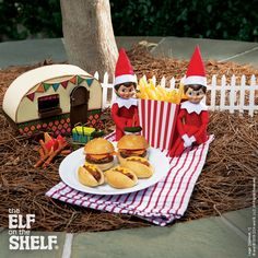 Burgers and fries, oh my! These scout elves have cooked up an elf-sized treat for their family! | Elf on the Shelf Ideas