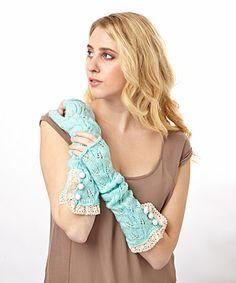 Look at this #zulilyfind! Aqua Crochet Arm Warmers by Winter Lennon #zulilyfinds