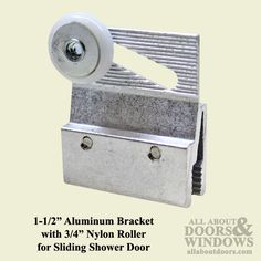1-1/2 Inch Aluminum Bracket with 3/4 Inch Nylon Roller for Sliding Shower Door $12.75 (Sold in Pairs)