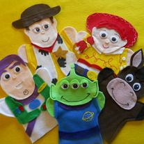 Toy Story hand Puppets  set of 5 puppets  Buzz , Woody, Jessie, Round up, and the Alien  You can order it in any Color you wish Please send me a note to what color you would like  Having a Toy Story or Cowboy Birthday Party. What a great Birthday Gift and Birthday Favor for the cowboy.  ...