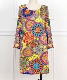 This Yellow Medallion Scoop Neck Dress - Plus by Reborn Collection is perfect! #zulilyfinds