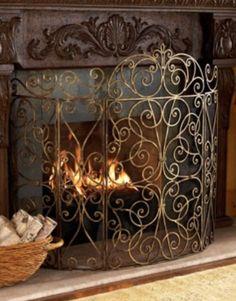 french fireplace screens. Neiman Marcus FRENCH SCROLL Iron FIRESCREEN Fireplace Screen Ornate Fleur  de Lis Dancing Scrolls For the home