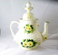 Vintage Lefton Rustic Daisy Tea Pot Cookie Jar by EclecticVintager,