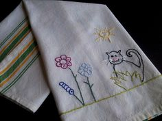 Hand embroidered tea towel, embroidered dish towel,embroidered cat dish towel,cat in the garden
