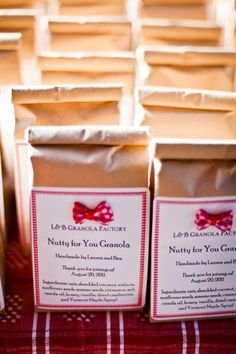 Granola packaged for a wedding favor.