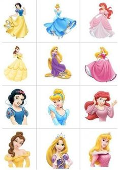 12 ICING Square Disney Princess Edible Image Cupcake Toppers / Decorations in Home & Garden, Parties, Occasions, Cake | eBay