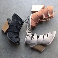 summer nights cut out laced up block heels sandals (more colors)