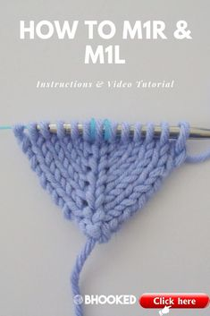Knitting Increases: and Tutorial - B.Hooked Tutorial , How to do the and knitting increase stitches with step-by-step instructions. Click through for the instructions and video tutorial! M1l Knitting, Knitting Stitches, Hand Knitting, Knitting Patterns, Knitting Ideas, Knitting Projects, Knitting Terms, Knitting Help, Knitting Kits