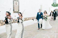 Historic Spanish Wedding in Santa Barbara with mariachi band parade