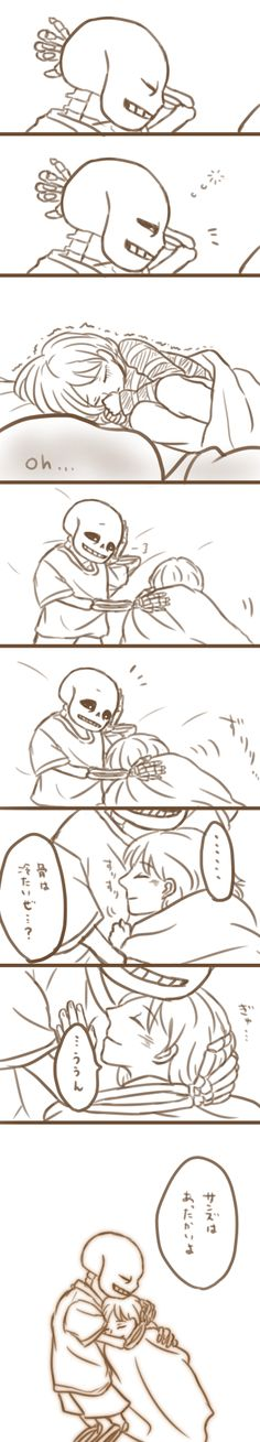 "tumblr_o7zti3rCYU1uvs8hyo10_1280.png (346×1920)  In case if you need translation:  (7th box: ) S: ""Bones are cold y'know?""  (8th & 9th box:)F: ""no...Sans is warm."""