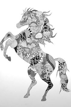 Zentangle Horse By Nikoline Sander Mehr