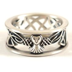 Remarkable Scottish Wedding Rings and Sterling Silver Owl Wedding Band Celtic Owl Ring Mens Wedding Band Owl Wedding, Wedding Men, Wedding Bands, Trendy Wedding, Luxury Wedding, Wedding Tuxedos, Wedding Ideas, Celtic Knot Ring, Celtic Rings