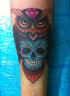 Owl with sugar skull and purple diamond design