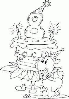 Birthday Cake Age 8 Coloring Page Coloringcom Coloring Sheets For Kids, Coloring Book Pages, Printable Coloring Pages, Happy Birthday Coloring Pages, Happy 8th Birthday, Birthday Cake, Birthday Numbers, Copics, Digital Stamps