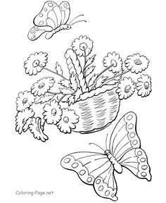 Spring coloring page - Butterflies