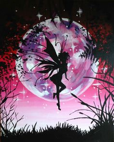 Paint Nite: Discover a new night out and paint and sip wine with friends Fairy Paintings, Picasso Paintings, Arte Digital Fantasy, Fantasy Art, Fairy Silhouette, Drawn Art, Fairy Pictures, Desenho Tattoo, Paint And Sip