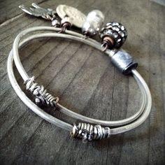 Boho silver bangles: sterling silver bangles, boho bangles, charm bangles, rustic silver, double bangle,  silver bracelet